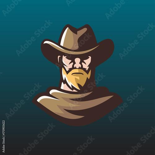 Photo  old man cowboy logo mascot illustration