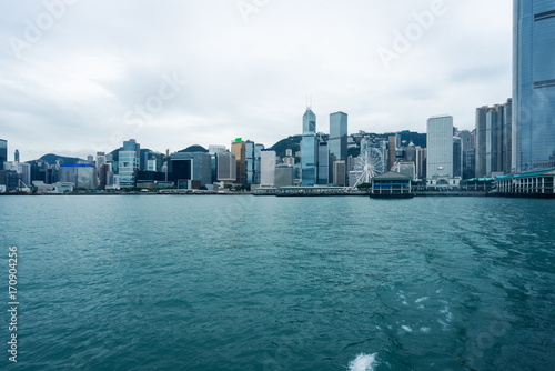 Canvas Prints Abu Dhabi view of victoria harbor in Hong Kong,China.