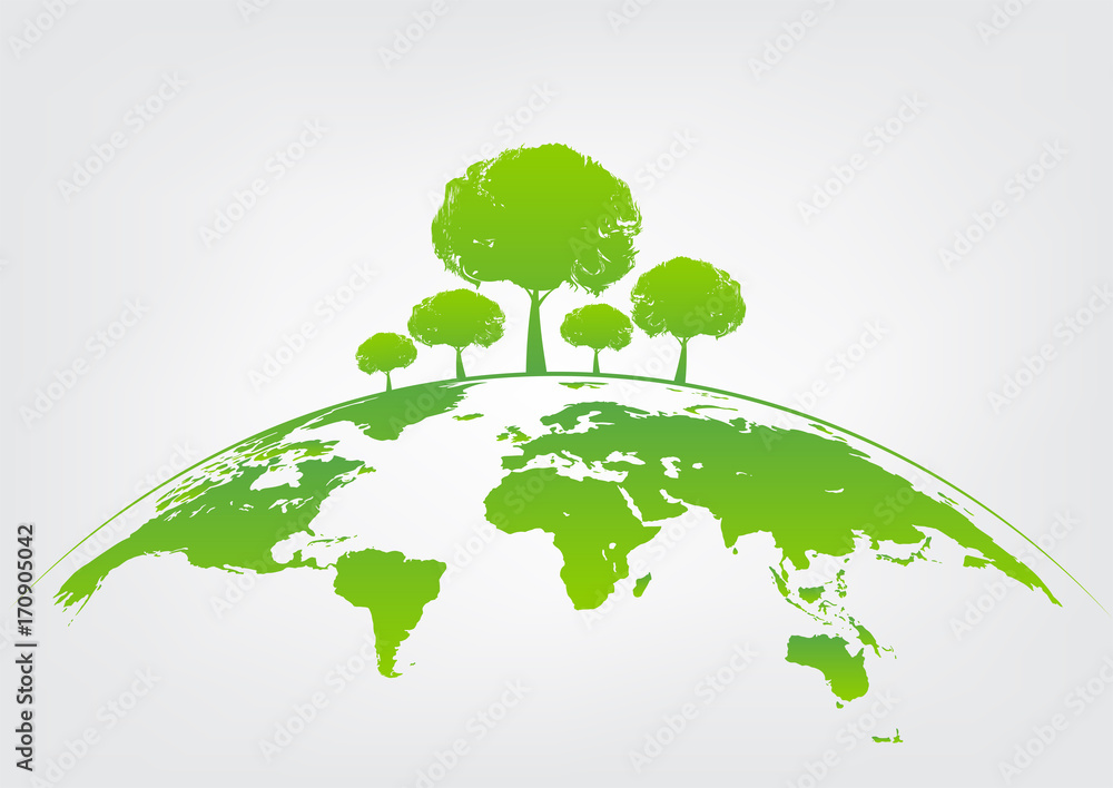 Fototapeta Green tree on earth for ecology friendly concept and World environment and sustainable development concept
