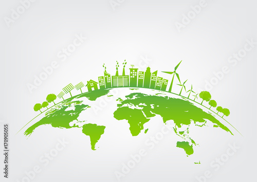Obraz Green city on earth, World environment and sustainable development concept, vector illustration - fototapety do salonu
