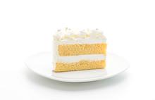 Vanilla Cake On White Background