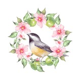 Watercolor floral wreath and bird. Hand drawn element for design. - 170916008