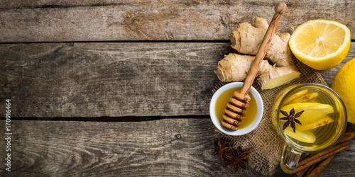 Ginger tea with lemon and honey Canvas Print