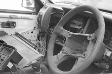 Black And White  Broken  Old  Steering  Car  Wheel