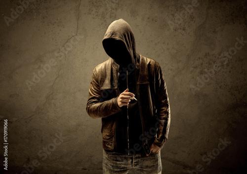 Undercover hooded stranger in the dark Fototapeta