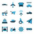 Set of 16 transportation bi-color icons