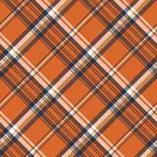 Orange Check Plaid Seamless Pattern