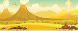 Fototapeta Dinusie - Volcanoes, grass, pterodactyls - prehistoric nature landscape.