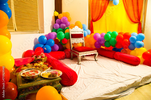 Balloon Decoration Stage For Engagement Ceremony Decorated With