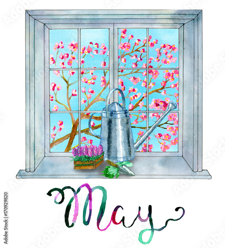 May month concept Gardening theme - watering can, gloves and