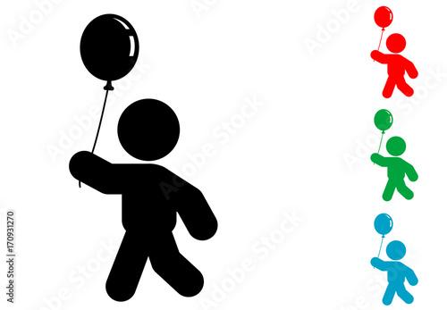 Photo Icono plano niño con globo varios colores