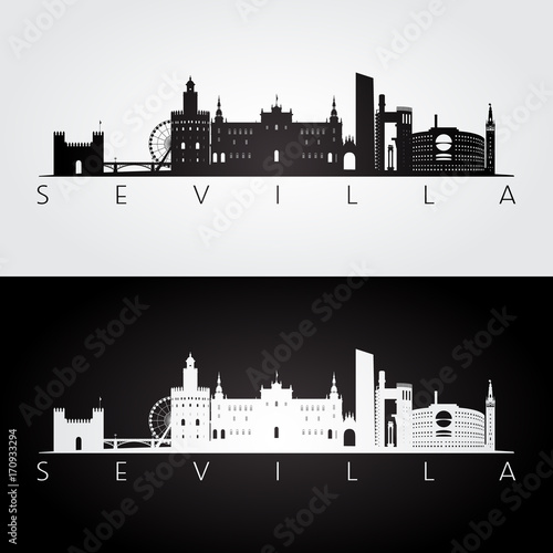 Sevilla skyline and landmarks silhouette, black and white design, vector illustration.
