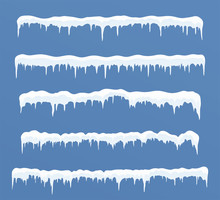 Set Of Long Ice Caps. Snowdrif...