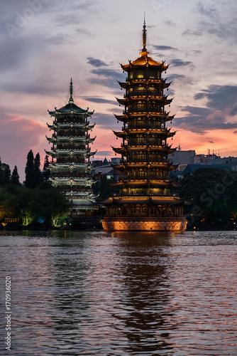 Foto op Canvas Guilin Sun and moon pagodas at sunset in Guilin city, China.