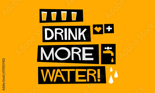 Drink More Water! (Flat Style Vector Illustration Quote Poster Design) Canvas Print