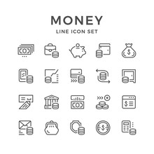 Set Line Icons Of Money