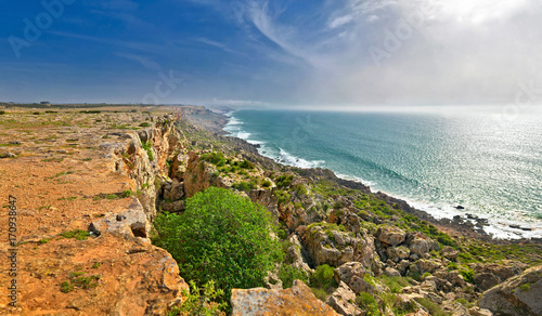 Aluminium Prints Sea View of the Atlantic Ocean from a steep bank in Morocco