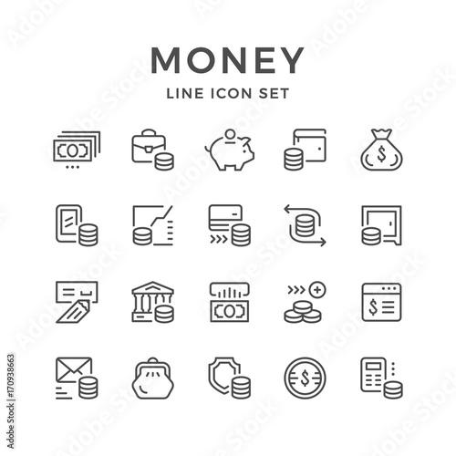 Fotografía  Set line icons of money