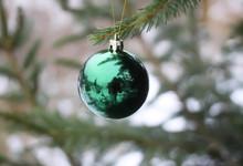 Christmas Ball Hanging On Fir ...
