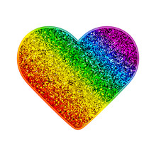 Gay Pride Rainbow Glitter Heart. Colorful Shiny Background With Sparks. Vector Illustration In LGBT Flag Colors. Symbol Of Peace And Tolerance. Modern Template For Pride Month, Parade, Special Events.