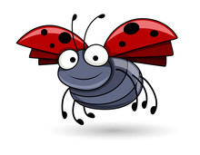 Cartoon Lady Bug Flying - Hand...