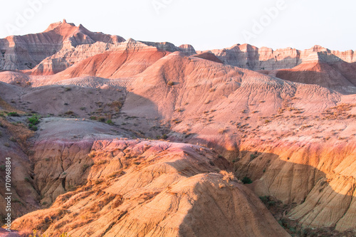 Tuinposter Baksteen Scenic view at sunset in Badlands National Park.