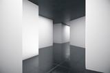 Abstract futuristic geometric interior