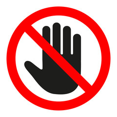 Stop sign. No entry. Black arm in a red crossed circle. Stop hand symbol for prohibited activities.