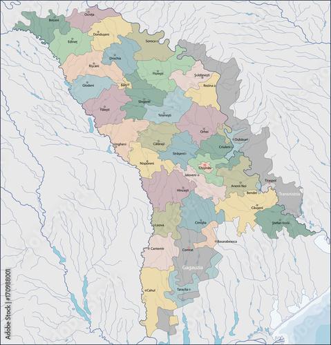 Map of Moldova Tablou Canvas
