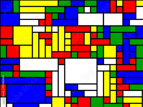 Photo  Neoplasticism of Rectangular Pete Mondrian Mosaic - Abstract Vector  Background