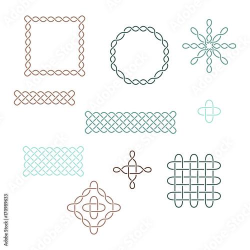 Set Of Celtic Elements Vector Ancient Pagan Scandinavian Sacred