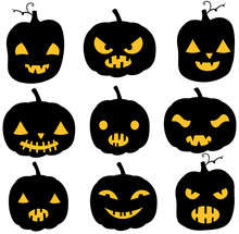 Vector Pumpkin Silhouettes In ...