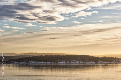 Photo  View of oslofjord on a cold winter day