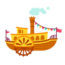 Cartoon Steamboat Ship