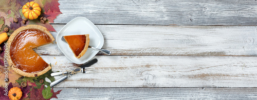 Homemade pumpkin pie served for the Autumn holidays Canvas Print