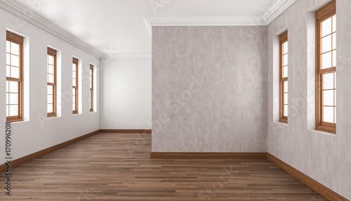 Unfurnished Building Interior With Iroko Wood Flooring Canvas Print