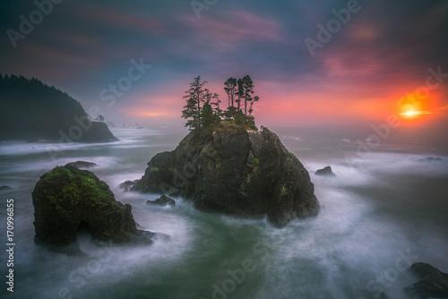Photo Stands Coast The Oregon coast sunset