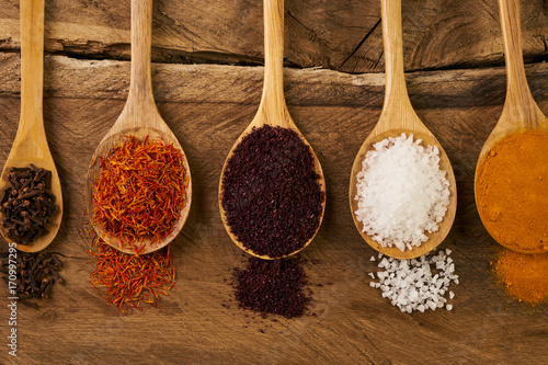 Canvas Prints Spices Wooden Spoon filled with various colorful spices