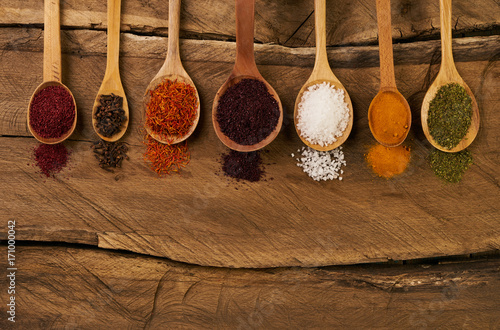Canvas Prints Spices Oriental various spices in wooden spoons