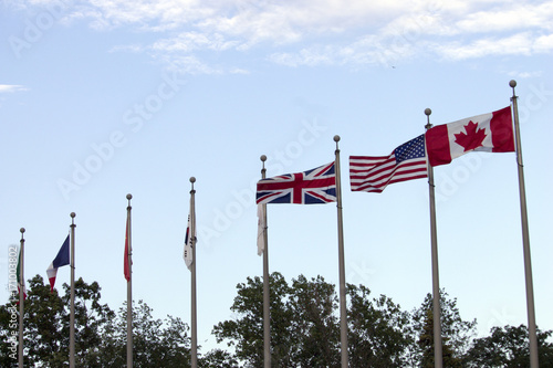 Canadian, American, and British Flags - Buy this stock photo