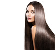 canvas print picture - Beautiful long hair. Beauty woman with straight black hair isolated on white