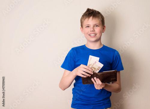 Finances, childhood, teen and savings concept Canvas Print