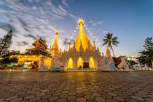 Sunset Scence Of White Pagoda At Temple Wat Phra That Doi Kong Mu At Mae Hong Son, Thailand