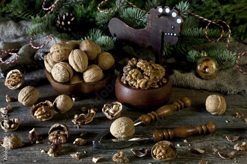 Photo  Walnuts and Nutcracker