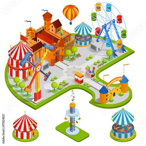 Poster Amusementspark Amusement Park Isometric Composition