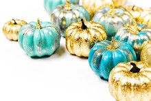 Shiny Gold And Blue Pumpkins. ...