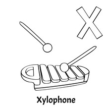 Vector Alphabet Letter X, Coloring Page. Xylophone