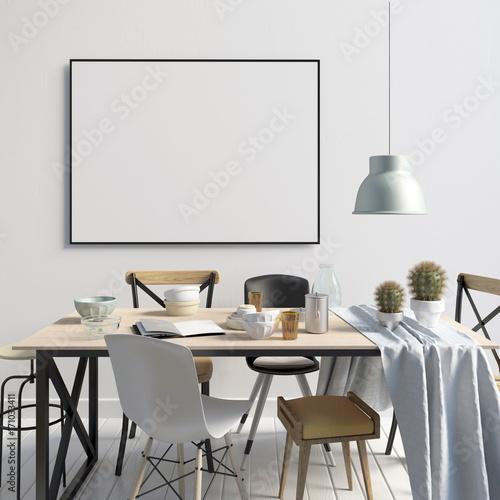 Obraz na plátně  Mock up poster in interior with dining area