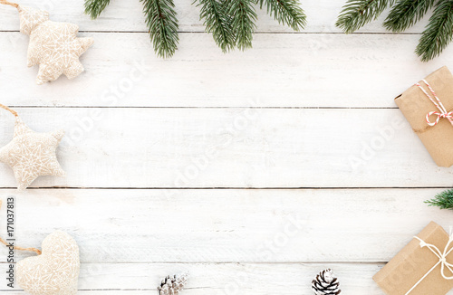 christmas and new year background christmas present gift boxes fir leaves pine cones