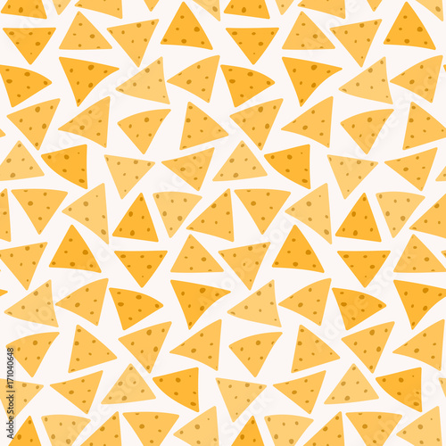 Fotografía Tasty colorful crispy mexican nachos seamless pattern